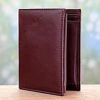 Men's leather wallet, 'Elegant Cordovan' - Classic Men's Leather Wallet in Cordovan from India