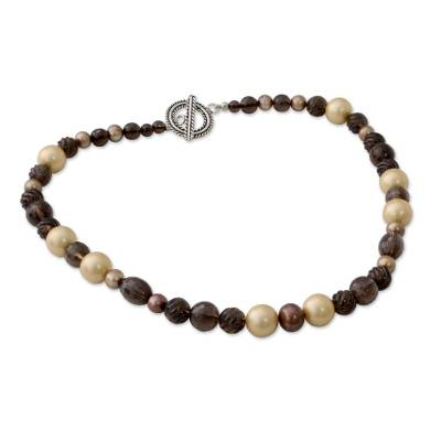 Beaded Strand Necklace with Smoky Quartz and Pearls