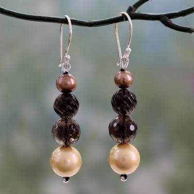Smoky quartz and cultured pearl earrings, 'Regality' - Beaded Smoky Quartz and Cultured Pearl Dangle Earrings