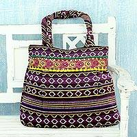 Cotton shoulder bag Purple Harmony India