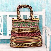 Cotton shoulder bag, 'Morning Sunshine' - Handwoven Cotton Shoulder Bag in Colorful Stripes