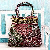 Embellished shoulder bag, 'Celebration of Color' - Vivid Polyester Print Shoulder Bag with Embroidery Trim