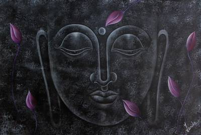 'Serene Buddha' - Evocative Acrylic and Oil Expressionist Painting of Buddha