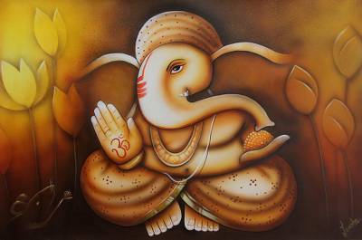 'Blessing of Ganesha' - Original Hindu Ganesha Painting in Warm Color Palette
