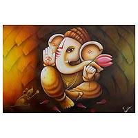 'Vinayak, Granter of Wishes' - Acrylic and Oil Original Painting of Hindu Deity Ganesha