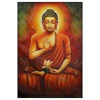 'Meditating Buddha' - Fine Art Painting of Buddha in Meditation