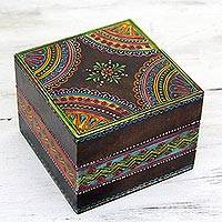 Handpainted decorative wood box, 'Festive Jodhpur' - Handmade Decorative Painted Box by Indian Artisan
