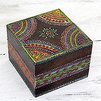 Handpainted decorative wood box, 'Festive Jodhpur'