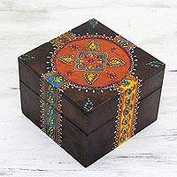 Handpainted decorative wood box, 'Festive Blossom' - Colorfully Painted Decorative Wooden Box from India
