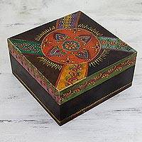 Handpainted decorative wood box, 'Festival of Flowers' - Ornately Painted Decorative Wood Trinket Box