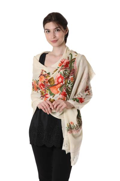 Embroidered wool shawl, 'Morning Greeting' - Multicolored Floral Embroidered Shawl on Ivory Wool