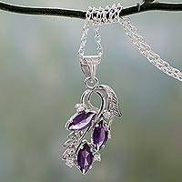 Amethyst pendant necklace, 'Wondrous Blossom' - Pendant Necklace with Silver, Amethyst and Cubic Zirconia