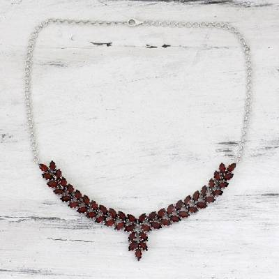 Garnet pendant necklace, 'Crimson Princess' - Garnet and Sterling Silver Statement Necklace from India