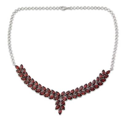 Garnet and Sterling Silver Statement Necklace from India