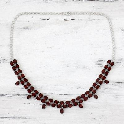 Garnet pendant necklace, 'Royal Jaipur' - Elegant Garnet Pendant Necklace in Rhodium Plated Silver