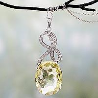 Lemon quartz pendant necklace,