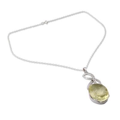 Lemon Quartz and CZ Pendant Necklace in Silver Settings