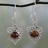 Tiger's eye dangle earrings, 'Earthly Delight' - Tiger's Eye and Sterling Silver Dangle Earrings from India