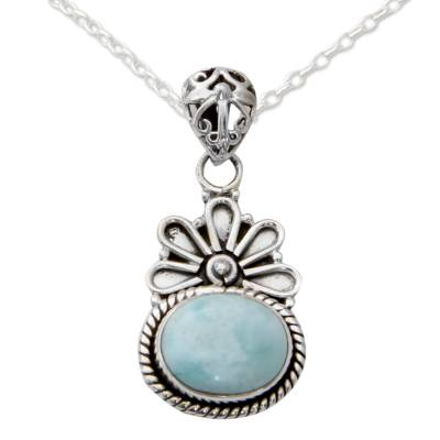 Larimar pendant necklace, 'Heaven on Earth' - Pendant Necklace with Larimar and Sterling Silver 925