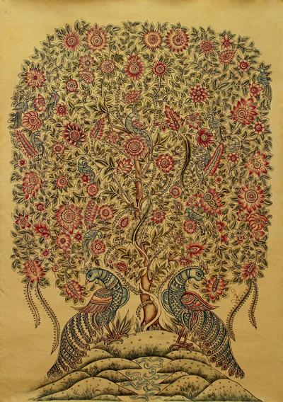 Kalamkari Style Painting of Tree of Life on Canvas