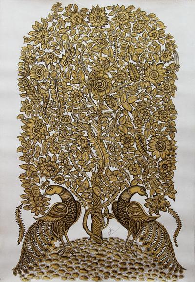 Kalamkari Style Folk Art Painting in Acrylic on Canvas