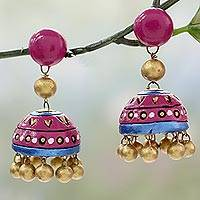 Ceramic dangle earrings, 'Pink Harmony' - Handcrafted Ceramic Dangle Earrings in Pink and Gold