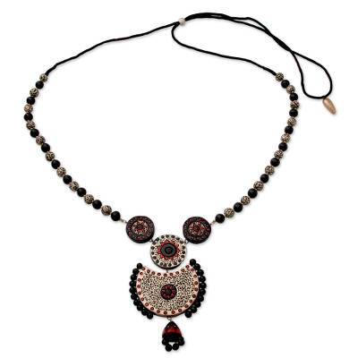 Unique Handpainted Terracotta Necklace from India