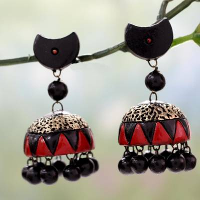 Ceramic dangle earrings, 'Divine Galaxy' - Black and Red Handmade Terracotta Ceramic Earrings