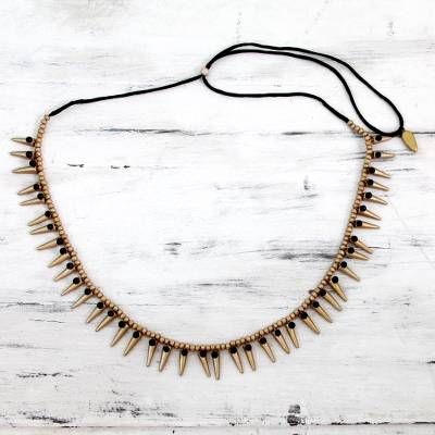 Ceramic beaded necklace, 'Golden Spear' - Artisan Made Ceramic Beaded Necklace in Gold Shades