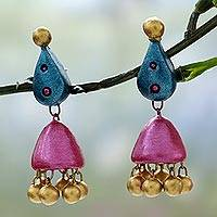 Ceramic dangle earrings, 'Lotus Flair' - Pink and Teal Hand Painted Ceramic Dangle Earrings