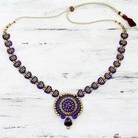 Ceramic pendant necklace, 'Iris Chakra' - Blue Violet and Gold Ceramic Pendant Necklace from India