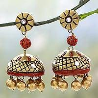 Ceramic dangle earrings, 'Golden Grandeur' - Unique Ceramic Dangle Earrings in Gold and Red