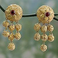 Ceramic dangle earrings, 'Ancient Treasure' - Golden Handpainted Terracotta Ceramic Dangle Earrings