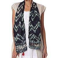 Silk batik scarf, 'Zigzag Harmony' - Hand Dyed Batik Silk Scarf in Navy and Aqua