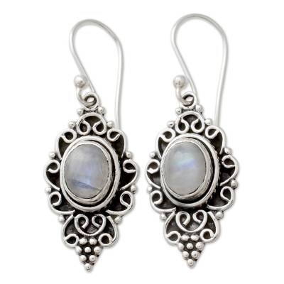 Sterling Silver and Rainbow Moonstone Cabochon Earrings