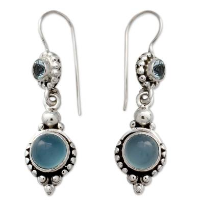 Sterling Silver Earrings with Blue Topaz and Chalcedony