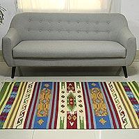Wool rug Blue Tribal Skies 4x6 India