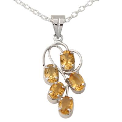 Rhodium Plated 925 Silver and Citrine Pendant Necklace