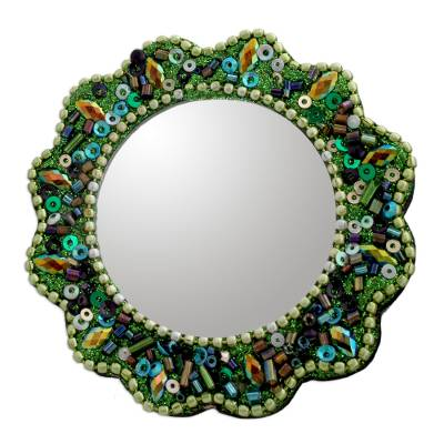 Floral 2-Inch Hand Mirror Artisan Crafted in India