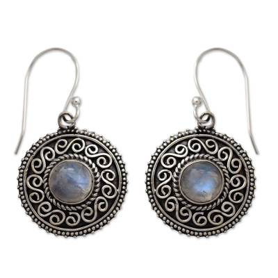Rainbow Moonstone Earrings with Oxidized Silver Accents
