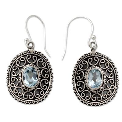 Sterling Silver Dangle Earrings with Oval Blue Topaz Gems