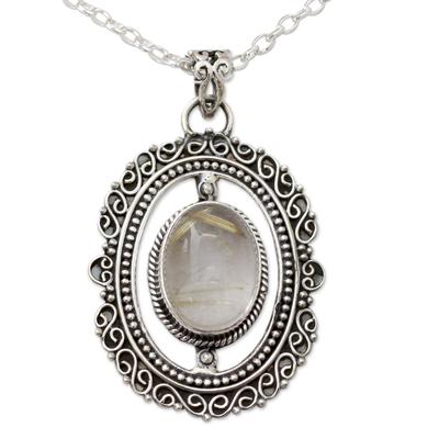 Sterling Silver Pendant Necklace with Rutile Quartz Cabochon