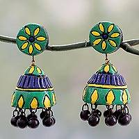 Ceramic dangle earrings, 'Festive Sunflowers' - Unique Ceramic Dangle Earrings Handmade in India