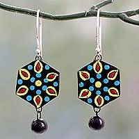 Ceramic dangle earrings, 'Mughal Midnight' - Handmade Black and Multicolor Ceramic Dangle Earrings