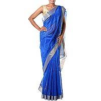 Cotton and silk blend sari, 'Royal Muse' - Cotton and Silk Blend Women's Sari in Royal Blue and Gold