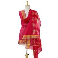 Cotton and silk blend shawl, 'Fan Blossoms' - Cotton and Silk Blend Shawl in Deep Pink with Golden Flowers