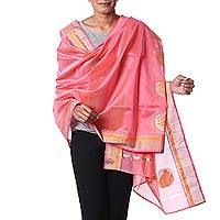 Cotton and silk blend shawl, 'Paisley Petals' - Light Pink Cotton and Silk Shawl with Golden Paisley Designs