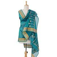 Cotton and silk blend shawl,