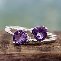 Amethyst cocktail ring, 'Encounters' - Sterling Silver and Amethyst Two Stone Cocktail Ring