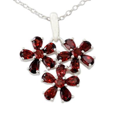 Garnet Flower Pendant Necklace in Rhodium Plated Silver